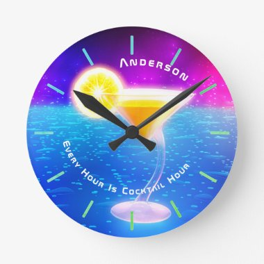 Neon COCKTAIL Hour Tropical Personalized Wall Round Clock