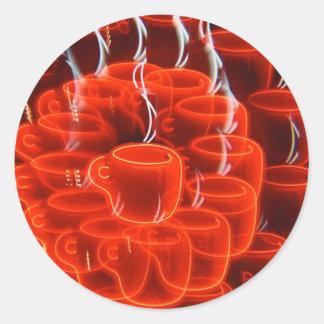 neon coffee cup madness classic round sticker
