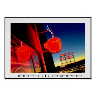 neon coffee cup poster