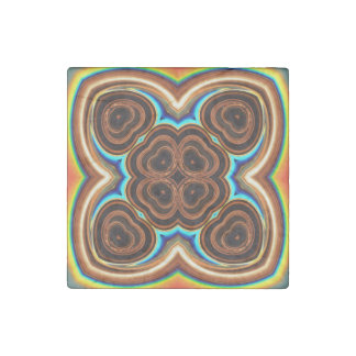 Neon Coffee Floral Abstract Stone Magnet