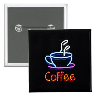 Neon Coffee Sign Pinback Button