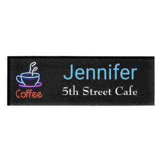 Neon Coffee Sign Employee Name Tag