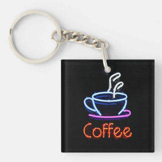 Neon Coffee Sign Single-Sided Square Acrylic Keychain
