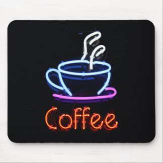 Neon Coffee Sign Mouse Pad