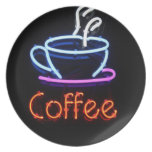 Neon Coffee Sign on Black Dinner Plates