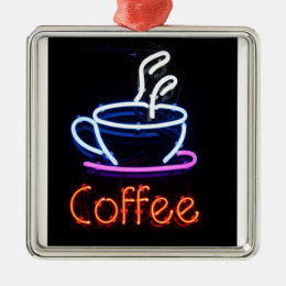 Neon Coffee Sign on Black Metal Ornament
