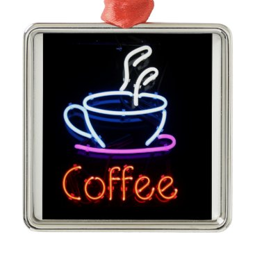 Coffee Themed Neon Coffee Sign on Black Metal Ornament