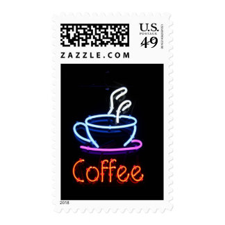 Neon Coffee Sign on Black Postage Stamp