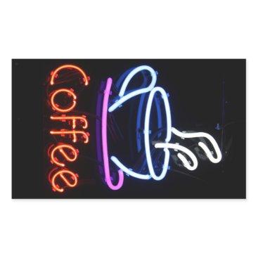 Coffee Themed Neon Coffee Sign on Black Rectangular Sticker