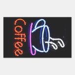 Neon Coffee Sign on Black Rectangular Stickers