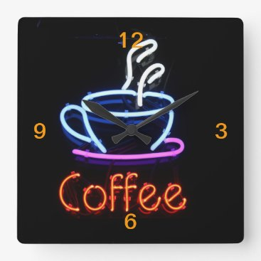 Coffee Themed Neon Coffee Sign on Black Square Wall Clock