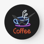 Neon Coffee Sign Round Wall Clock