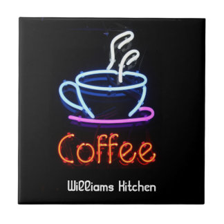 Neon Coffee Sign Tile