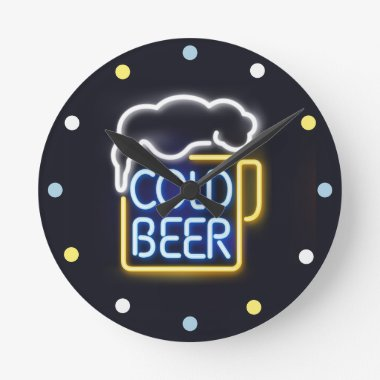 Neon Cold Beer Mancave Bar Den Wall Clock
