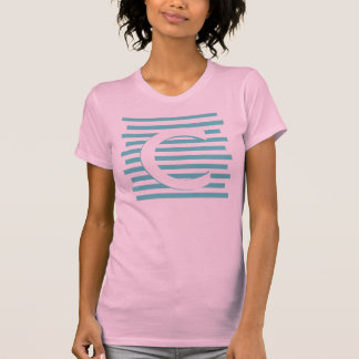 Neon Color Letter Monogram Horizontal Stripe Shirt