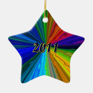 Neon Color Star Ornament with Year