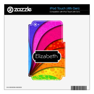 Neon Color Swirls Pattern Monogram MP3 Skin iPod Touch 4G Decal
