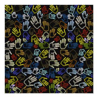 Neon Colorful Handprints 5.25x5.25 Square Paper Invitation Card