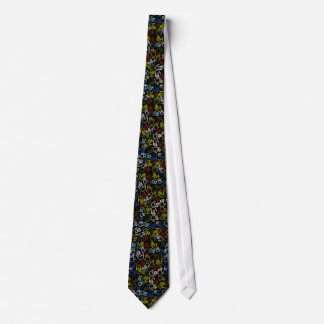 Neon Colorful Handprints Neck Tie
