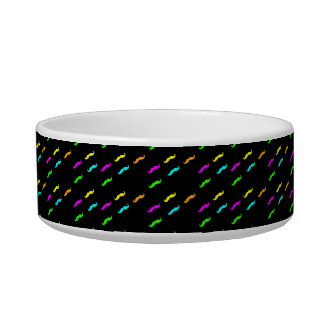Neon Colors Curly Mustache On Black Bowl