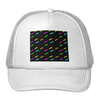Neon Colors Curly Mustache On Black Trucker Hat