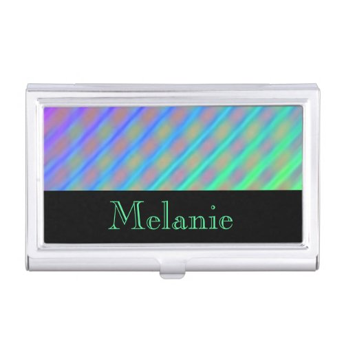Neon Colors Diagonal Stripes Personalized Business Card Holders