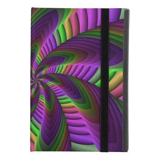 Neon Colors Flash Crazy Colorful Fractal Pattern iPad Mini 4 Case