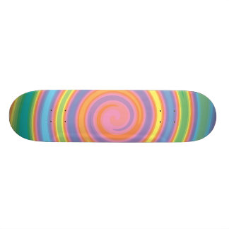 Neon colors pinwheel design girly skateboard