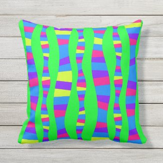 Neon Colors Retro Modern Pattern Psychedelic Patio Outdoor Pillow