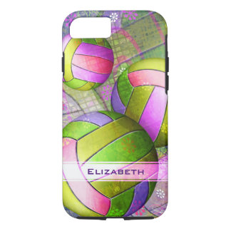 neon colors sporty girls' volleyball iPhone 7 case