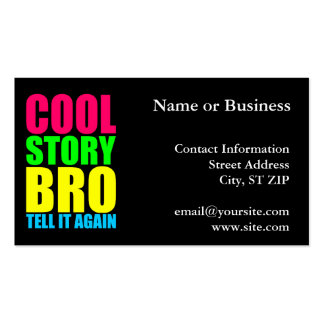 Neon Cool Story Bro Business Card Templates