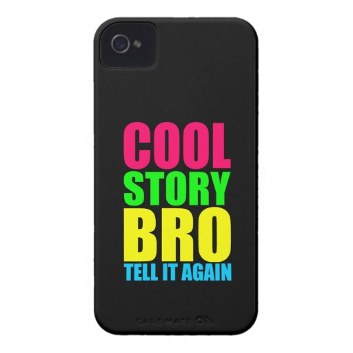 Neon Cool Story Bro iPhone 4 Cover