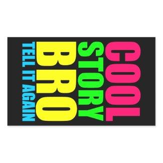 Neon Cool Story Bro Rectangular Stickers
