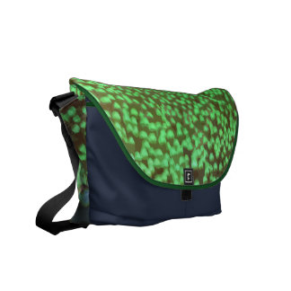 Neon coral messenger in green courier bags