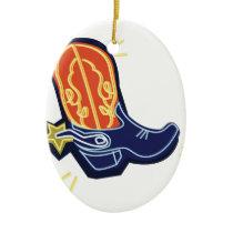 Neon Cowboy Boot Ceramic Ornament