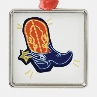 Neon Cowboy Boot Metal Ornament