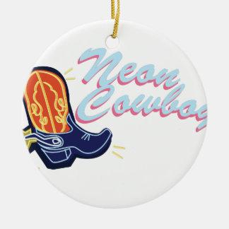 Neon Cowboy Ceramic Ornament