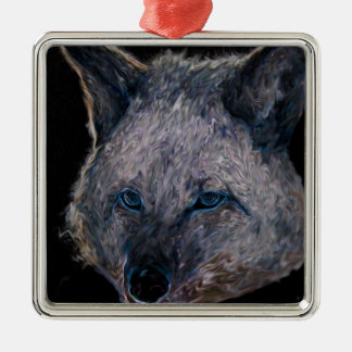 Neon Coyote (brushed) Metal Ornament