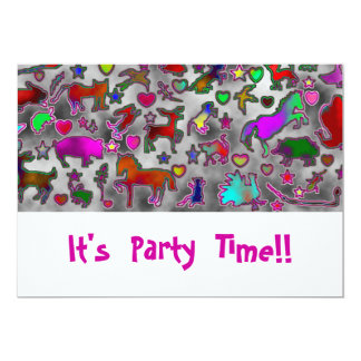 Neon Critters, Stars & Hearts Party Invitations