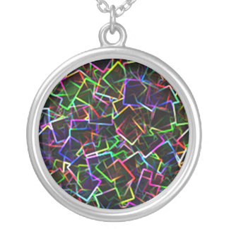 Neon Cubism Silver Plated Necklace