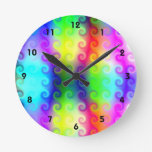 Neon Curly Qs Wall Clock