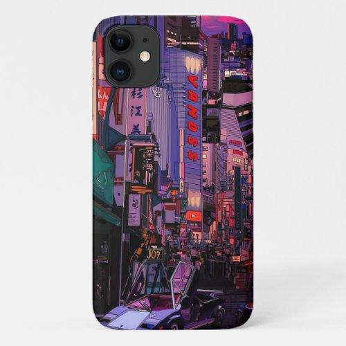 Neon Cyberpunk Metropolis Phone Case