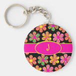 Neon Damask Flowers Key Chains