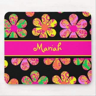 Neon Damask Flowers Mouse Pad