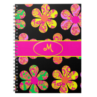Neon Damask Flowers Note Books