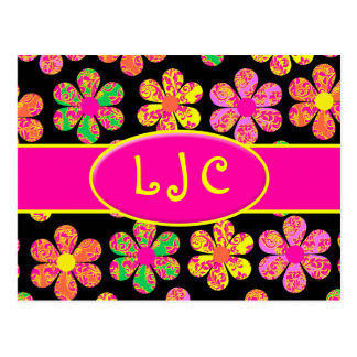 Neon Damask Flowers Post Card