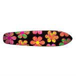 Neon Damask Flowers Skateboard Deck
