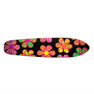 Neon Damask Flowers Skateboard Deck