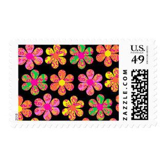 Neon Damask Flowers Stamp