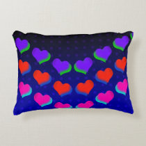 Neon Dark Hearts Retro Accent Pillow